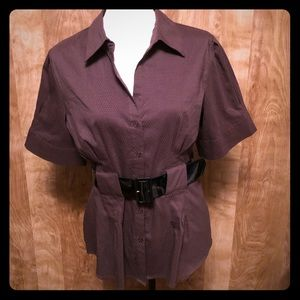 Apt.9 Chocolate Brown Blouse with Black Belt